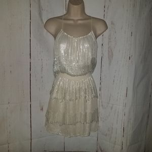 Parker s Ivory Beaded Sequined Mini Dress